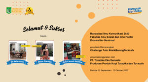 Selamat & Sukses Kepada 3 Mahasiswi Ilmu Komunikasi FISIP-UNAS Memenangkan Challenge Foto #AsikBarengToracafe