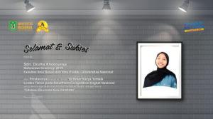 Selamat dan Sukses untuk Sdri. Dzulha Khoerunisa (Mahasiswi Prodi Sosiologi-FISIP) atas Prestasinya